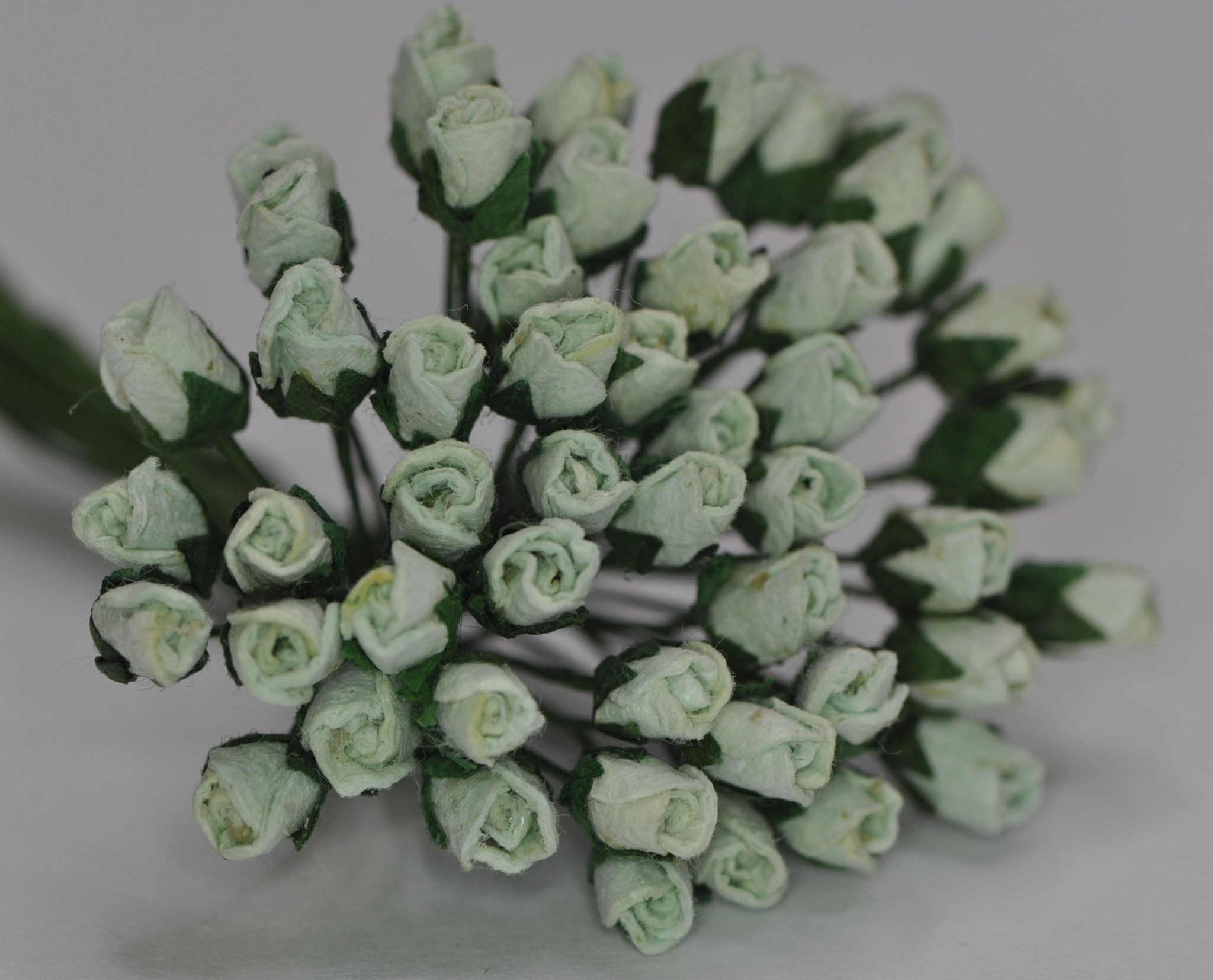 4mm Mint Green Rose Buds Mulberry Paper Flowers